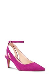Nine West Women's Shawn Ankle Strap Pump Pink Suede
