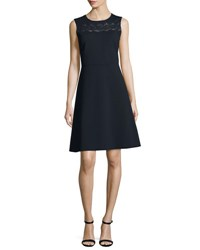 Elie Tahari Fallon Sleeveless Lace Yoke A Line Dress Blue