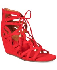 Kenneth Cole Reaction Women's Cake Pop Gladiator Lace Up Wedge Sandals Women's Shoes Red