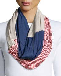 Michael Stars Mixed Pinstripe Infinity Scarf Red Blue Khaki
