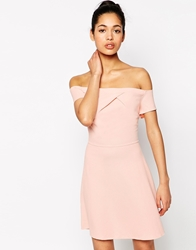 Love Off The Shoulder Dress In Waffle Fabric Pinkwaffle