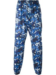 Etro Floral Print Drawstring Trousers Blue