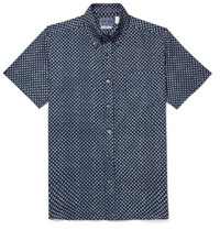 Blue Blue Japan Slim Fit Button Down Collar Indigo Dyed Printed Cotton Gauze Shirt