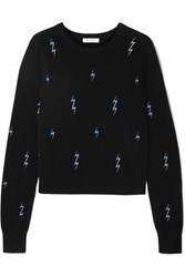 Equipment Shirley Embroidered Cashmere Sweater Black