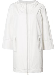 Brunello Cucinelli Zipped Hooded Coat White