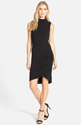 Halogen Sleeveless Side Ruched Mock Neck Knit Dress Regular And Petite Black