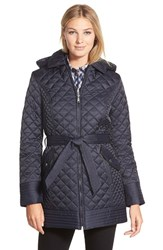 Women's Laundry By Design Belted Hooded Quilted Coat Pretoria Navy