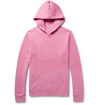 The Elder Statesman Fleece Back Cotton Jersey Hoodie Pink