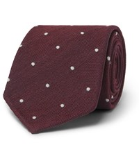 Drakes Drake's 8Cm Polka Dot Silk And Wool Blend Tie Burgundy