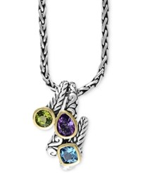 Effy Balissima By Multi Gemstone Pendant Necklace 3 1 3 Ct. T.W. In Sterling Silver And 18K Gold