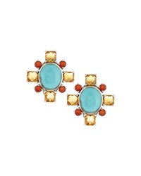 Stephen Dweck Turquoise Red Agate And Citrine Cluster Clip Earrings