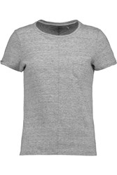 J Brand Jade Slub Cotton Blend Jersey T Shirt Gray