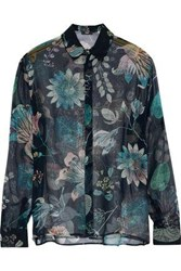Versus By Versace Floral Print Silk Chiffon Shirt Multicolor
