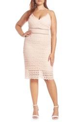 Soprano Lace Body Con Midi Dress Pink Rose Cloud