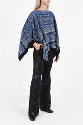 Missoni Chunky Chevron Wool Poncho Black