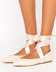 Lipsy Lace Up Ballet Pumps Nude Pink