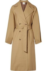 Sea Kamille Checked Woven And Stretch Cotton Poplin Trench Coat Sand
