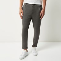 Only And Sons River Island Mens Grey Pinstripe Slim Fit Trousers