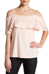 Go Couture Cold Shoulder Flounce Tee White
