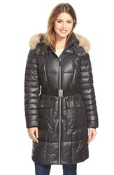 Women's Marc New York 'Adrianne' Genuine Coyote Trim Belted Long Down And Feather Fill Coat Black