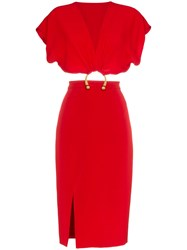 Haney Kerr Cut Out Dress Red
