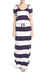 Caslonr Women's Caslon Drawstring V Neck Jersey Maxi Dress Navy White Buoy Stripe