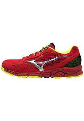 Mizuno Wave Daichi Trail Running Shoes Chinese Red Silver Safety Yellow