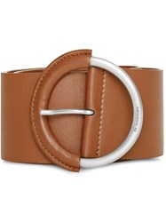 Burberry Round Buckle Leather Belt Brown