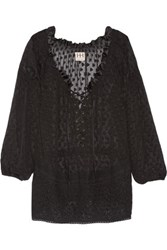 Haute Hippie Embroidered Lace Up Fil Coupe Silk Top Black