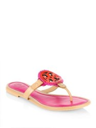 Tory Burch Miller Fringe Leather Thong Sandals Dusty Cypress