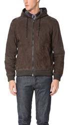 Vince Nubuck Hooded Jacket Espresso Brown