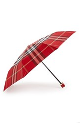 Burberry 'Trafalgar' Check Folding Umbrella Red Parade Red Check