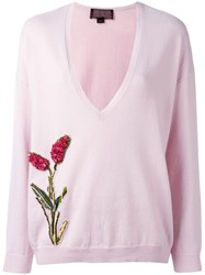 Giambattista Valli Flower Embellished V Neck Jumper Pink Purple