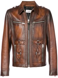 Coach Sheriff Leather Jacket Brown