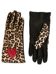 Moschino Vintage Leopard Print Gloves Black