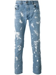 Diesel Black Gold Paint Effect Jeans Blue