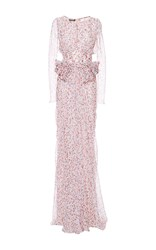 Zac Posen Silk Watercolor Dot Chiffon Long Dress Multi