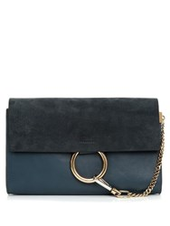 Chloe Faye Small Suede And Leather Clutch Blue