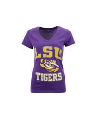 Soffe Women's Lsu Tigers V Neck T Shirt Purple
