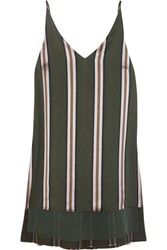 Adam By Adam Lippes Striped Satin Top Army Green