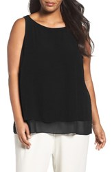 Eileen Fisher Plus Size Women's Silk Georgette Crepe Tiered Tank