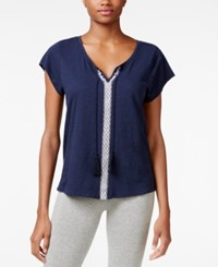 Lucky Brand Embroidered Pajama T Shirt Navy