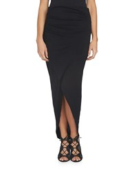 1.State Wrap Front High Low Skirt Rich Black