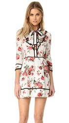 Re Named Floral Neck Tie Dress White Red