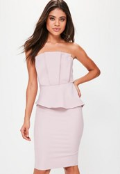 Missguided Nude Strapless Pleated Front Bodycon Dress Champagne