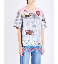 Peter Pilotto Gingham Patch Embroidered Stretch Cotton Top Multi