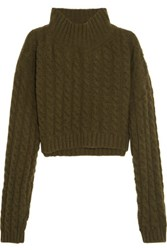 Vivienne Westwood Anglomania Mud Cropped Twill Paneled Cable Knit Wool Blend Sweater Green