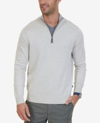 Nautica Men's Quarter Zip Pullover Sweater Oatmeal Heather