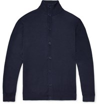 P. Johnson Slim Fit Superfine Merino Wool Cardigan Navy
