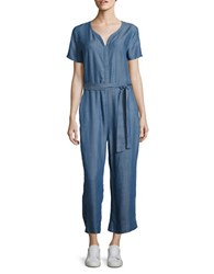 Design Lab Lord And Taylor Chambray Belted Jumpsuit Medium Wash